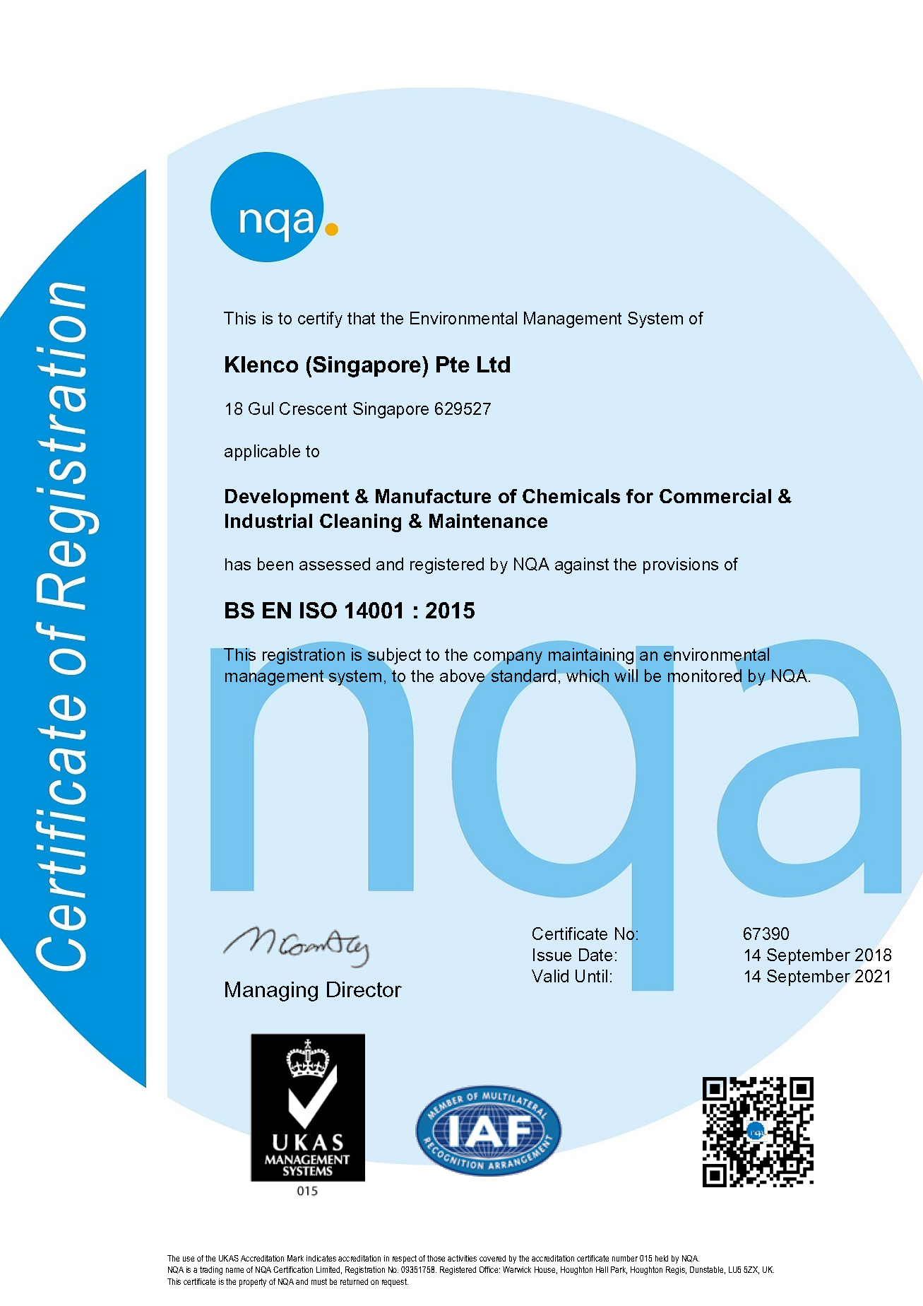 2018 EMS ISO 14001 Certificate