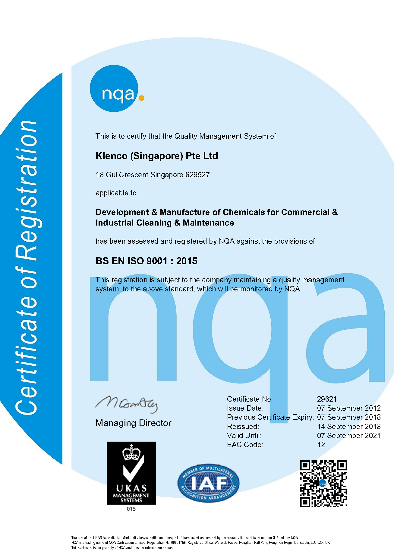 2018 QMS ISO 9001 Certificate